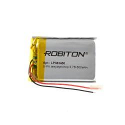 Аккумулятор Li-Pol ROBITON 383450 3.7В 800mAh PK1/3.7в, контроллер, гибкие выводы, 60x30x6мм