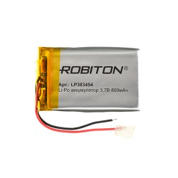 Аккумулятор Li-Pol ROBITON 383454 3.7В 800mAh PK1/3.7в, контроллер, гибкие выводы, 60x30x6мм