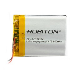 Аккумулятор Li-Pol ROBITON 443442 3.7В 600mAh PK1/3.7в, контроллер, гибкие выводы, 42x34x4мм