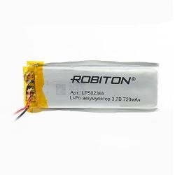 Аккумулятор Li-Pol ROBITON 502365 3.7В 720mAh PK1/3.7в, контроллер, гибкие выводы, 65x23x5мм