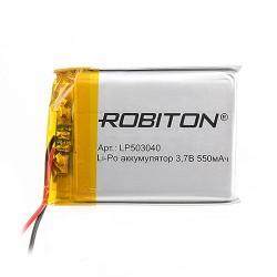 Аккумулятор Li-Pol ROBITON 503040 3.7В 550mAh PK1/3.7в, контроллер, гибкие выводы, 40x30x5мм