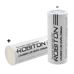 Аккумулятор Li-FePO4 Robiton 26650 2500mAh /без защиты