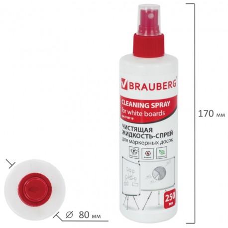 Спрей чистящий BRAUBERG для маркерных досок, 250 мл,  510119