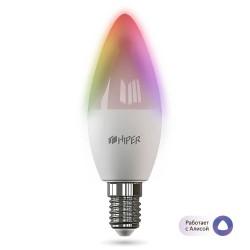 Умная лампочка HIPER IoT HI-C1 RGB/LED/Wi-Fi/Е14/12Вт/2700К-6500К/1020lm/HI-C1 RGB