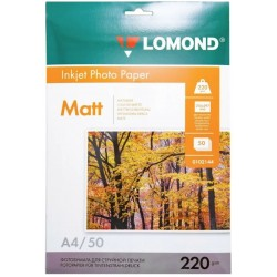 Бумага Lomond 220 г/м2, А4, матовая,  двухсторонняя, 50л. (0102144)