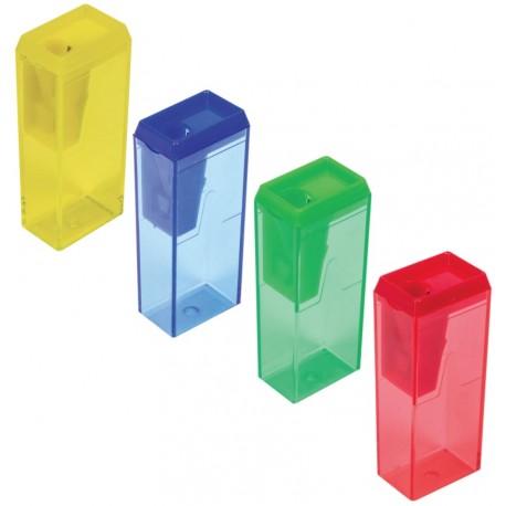 Точилка ПИФАГОР, с контейнером, прямоугольная, пластиковая, ассорти, 226530