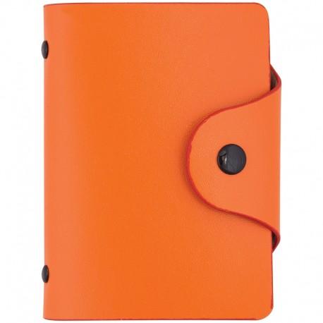 Визитница OfficeSpace на 40 визиток, 80*110мм, кожзам, кнопка, оранжевый (260781)