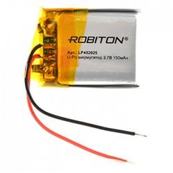 Аккумулятор Li-Pol ROBITON 402025 3.7В 150mAh PK1/3.7в, контроллер, гибкие выводы, 20x25x4мм