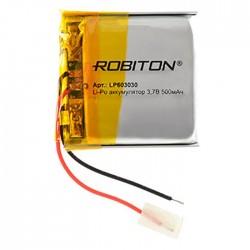 Аккумулятор Li-Pol ROBITON 603030 3.7В 500mAh PK1/3.7в, контроллер, гибкие выводы, 30x30x6мм