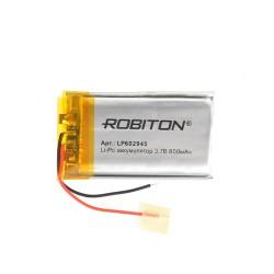 Аккумулятор Li-Pol ROBITON 602945 3.7В 800mAh PK1/3.7в, контроллер, гибкие выводы, 29x45x6мм