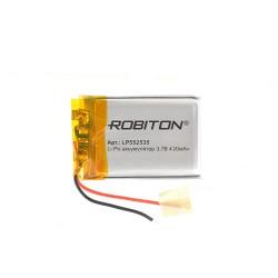 Аккумулятор Li-Pol ROBITON 552535 3.7В 430mAh PK1/3.7в, контроллер, гибкие выводы, 25x35x5.5мм