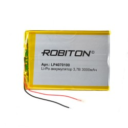 Аккумулятор Li-Pol ROBITON 4070100 3.7В 3000mAh PK1/3.7в, контроллер, гибкие выводы, 70x100x4мм