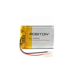 Аккумулятор Li-Pol ROBITON 402535 3.7В 320mAh PK1/3.7в, контроллер, гибкие выводы, 25x35x4мм