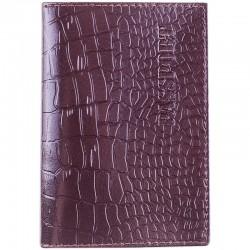 Обложка для паспорта OfficeSpace кожа тип 2, темно-коричневый, крокодил, KPs 1649 / 176876