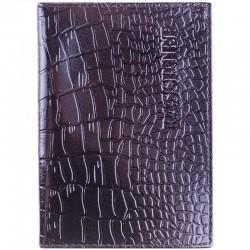 Обложка для паспорта OfficeSpace кожа тип 2, черный, крокодил, KPs 1648 / 176875