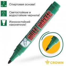 """Маркер перманентный CROWN """"Multi Marker"""" зеленый, пулевидный, 3мм (CPM-800)"""