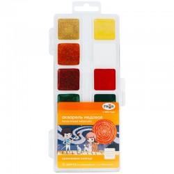 """Акварель 12цв. ГАММА """"Оранжевое солнце"""" 6 цв. с блестками.+ 6 классич., медовая (291020207)"""