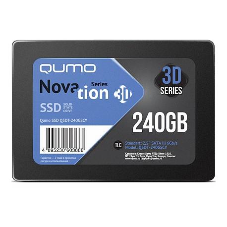 SSD-накопитель 240Гб Qumo Novation [Q3DT-240GSCY](SM2258XT,TLC 3D NAND,520/500 Мб/с)