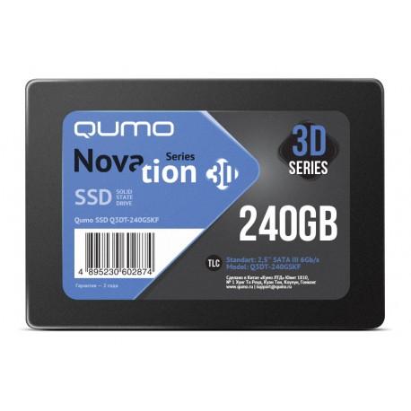 SSD-накопитель 240Гб Qumo Novation [Q3DT-240GSKF](SM2259XT,TLC 3D NAND,530/450 Мб/с)