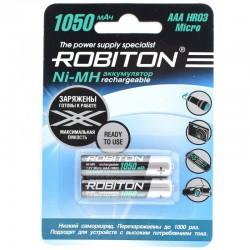 Аккумуляторы Ni-MH AAA Robiton RTU 1050mAh/1.2в, низкий саморазряд блистер 2 шт.