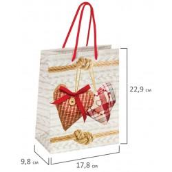 """Пакет подарочный """"Два сердца"""" 17,8x9,8x22,9 см, 606573"""