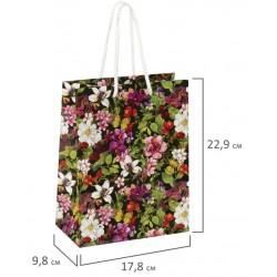 """Пакет подарочный """"Цветочный принт"""" 17,8x9,8x22,9 см, 606577"""