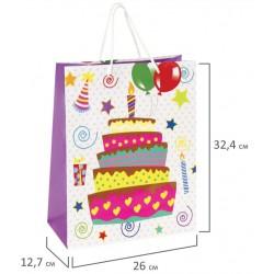 """Пакет подарочный """"Именинный торт"""" 26x12,7x32,4 см, 606592"""