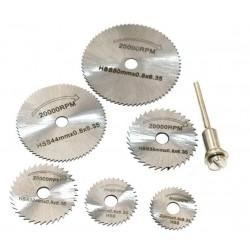 Пильные диски для гравера (набор 6 штук + держатель) HSS s=0,8мм d=22/25/32/35/44/50мм