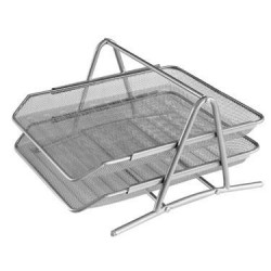 Лоток горизонтальный Erich Krause 2-х секционный металлический, серый (22512)