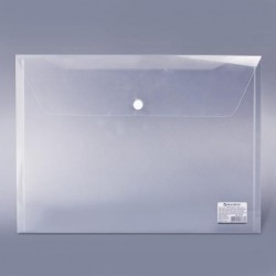 Папка-конверт на кнопке BRAUBERG формат А5, прозрачная (227314)