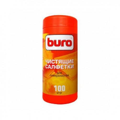Салфетки чистящие BURO BU-Tsurface для поверхностей в тубе,100шт