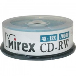 Диск CD-RW 25шт Mirex 700Mb 12x Cake Box (UL121002A8M)