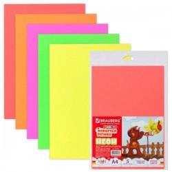 Резина в листах пористая BRAUBERG А4 5л. 5 цветов неон (660076)