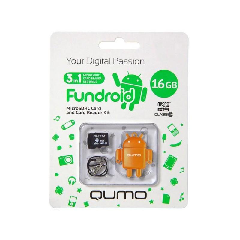 Карта памяти MicroSDHC 16Gb Qumo Class10 USB-reader FUNDROID,оранжевый UHS-I