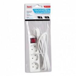 Сетевой удлинитель 5м, 3 розетки, 7А, с выключателем, белый, Buro, BU-PS3.5/W
