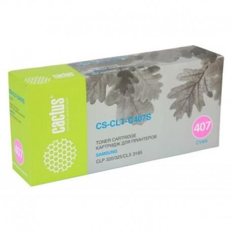 Картридж лазерный CACTUS CS-CLT-C407S для Samsung CLP-325 CLX-3185 голубой (1000 стр)