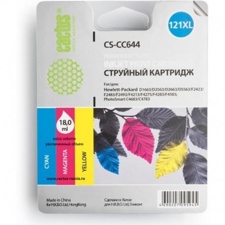 Картридж струйный CACTUS CS-CC644 №121XL для HP DeskJet D1663/D2563/F2423F4275/F4283 color