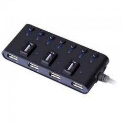 USB Хаб 7xUSB 2.0 Ginzzu GR-487UB черный (4 горизонтально и 3 вертикально расположенных порта)