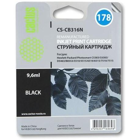 Картридж струйный CACTUS CS-CB316N №178 для HP PhotoSmart B8553/C5383/C6383/D5463 черный