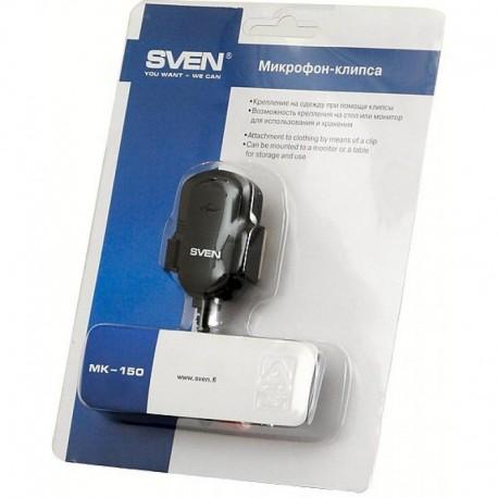 Микрофон Sven MK-150 прищепка, электретный, 58дБ, кабель 1.8м, Black