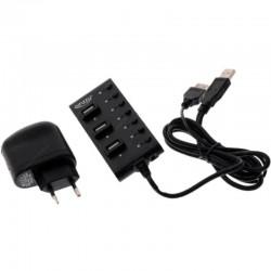USB Хаб 7xUSB 2.0 Ginzzu GR-487UAB черный (4 горизонт и 3 вертикал располож порта + СЗУ GA-3310UB)