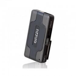 Картридер внешний Ginzzu GR-417UB черный + HUB 3*USB 2.0 SD/microSD/MS/MMC