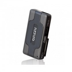 Картридер внешний Ginzzu GR-417UB черный + HUB 3*USB 2.0