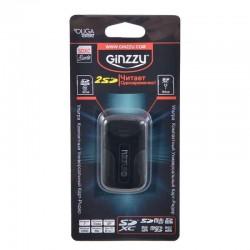 Картридер внешний Ginzzu GR-422B черный USB2.0 SD/microSD/MMC (работа с 2 картами одновременно,контейнер для хранения карт)