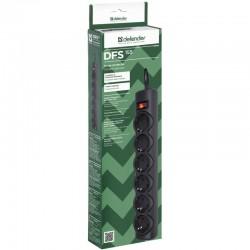 Сетевой фильтр 5м Defender DFS 155 6 розеток черный