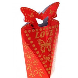 """Коробка подарочная сборная конфета """"Бабочка"""" красная 18*11*8см"""