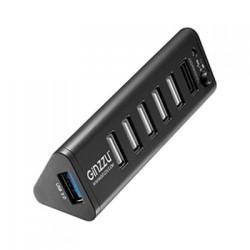 USB Хаб 7xUSB 2.0 Ginzzu GR-315UAB черный (1xUSB3.0+6xUSB2.0, 2.1A) +СЗУ