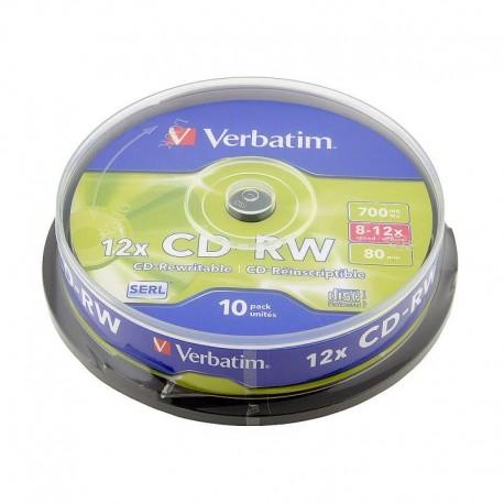Диск CD-RW  10шт Verbatim 700Mb 8x-12х Cake Box  Datalife+ 43480