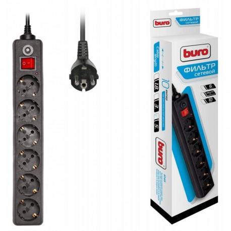Сетевой фильтр 5м Buro 600SH-5-B 6 розеток черный