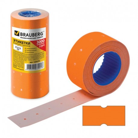 Этикетки BRAUBERG 21*12мм. 1 рулон 600 шт. оранжевая (123570)